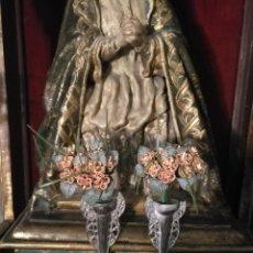 Antigüedades: PAREJA Nº 10 - RAMILLETES RAMO FLORES PARA JARRAS CRATERAS CAPILLAS VIRGEN NIÑO JESUS SEMANA SANTA. Lote 191648981