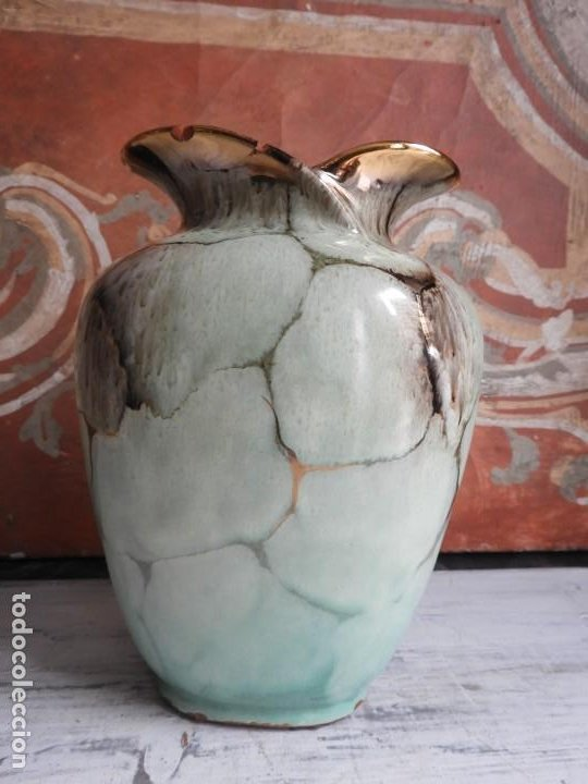 Antigüedades: BONITO JARRON DE CERAMICA VIDRIADA CON VISTOSOS COLORES - Foto 4 - 191654772