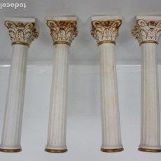 Antigüedades: 4 COLUMNAS EN PORCELANA BISCUIT DORADAS - COLUMNA DE ANTIGUO RELOJ DE SOBREMESA - 22 CM ALTURA. Lote 191674955