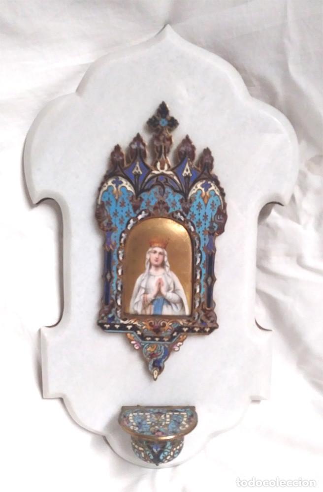 BENDITERA VIRGEN DEL ROSARIO PORCELANA ESMALTADA, BRONCE ESMALTE CLOISONNE Y BASE MARMOL. (Antigüedades - Religiosas - Benditeras)