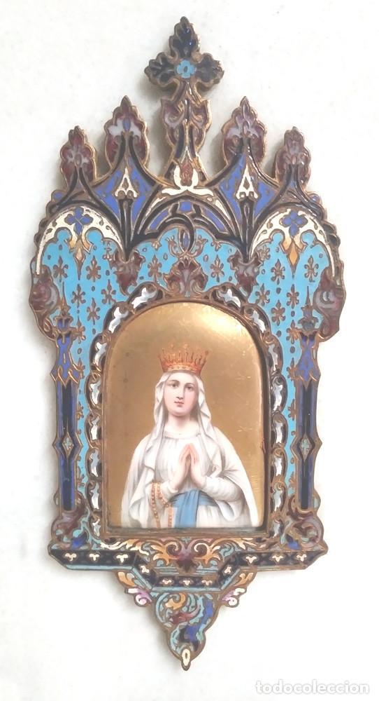 Antigüedades: Benditera Virgen del Rosario Porcelana Esmaltada, Bronce Esmalte Cloisonne y base Marmol. - Foto 2 - 191690723