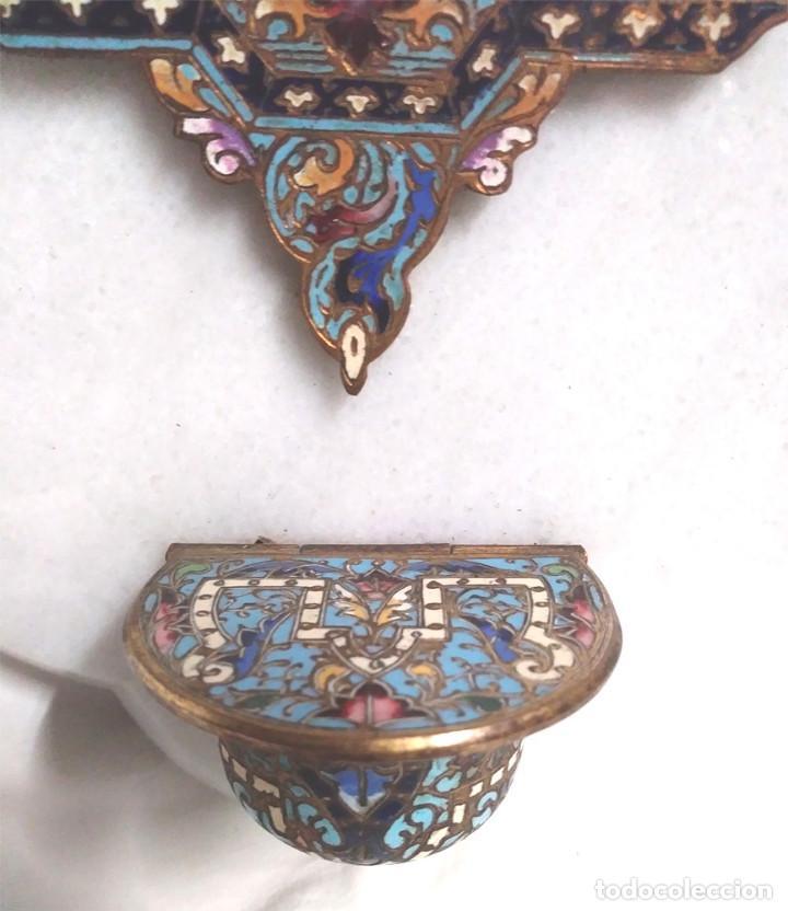 Antigüedades: Benditera Virgen del Rosario Porcelana Esmaltada, Bronce Esmalte Cloisonne y base Marmol. - Foto 3 - 191690723