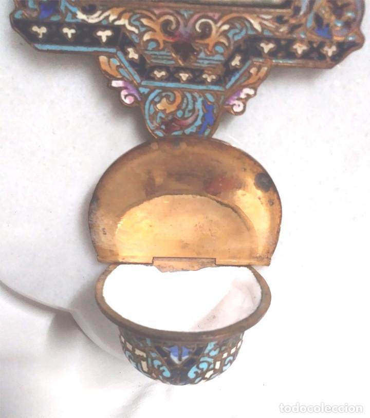 Antigüedades: Benditera Virgen del Rosario Porcelana Esmaltada, Bronce Esmalte Cloisonne y base Marmol. - Foto 4 - 191690723