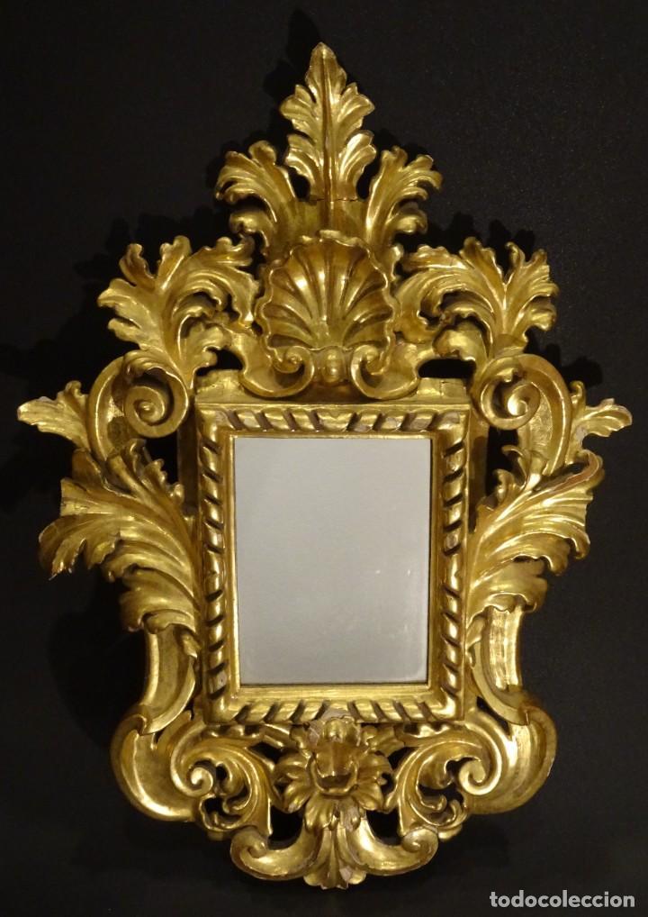Antigüedades: Pareja de cornucopias en espejo, fin S.XVIII- madera tallada y dorada con oro fino - Foto 3 - 191696470