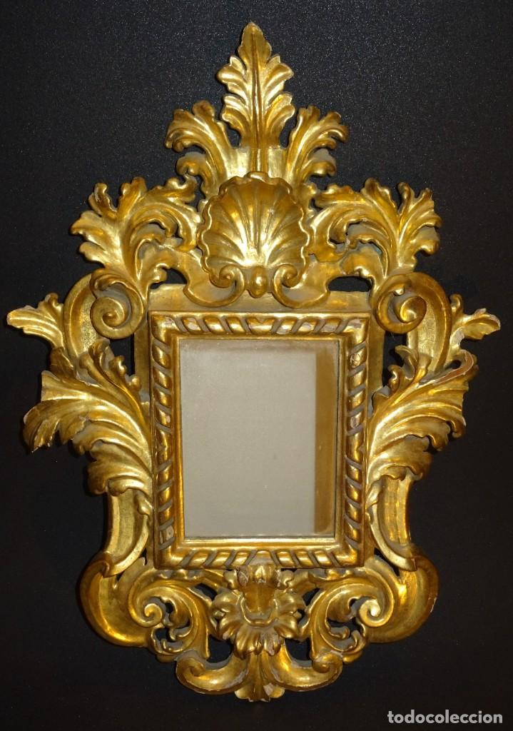 Antigüedades: Pareja de cornucopias en espejo, fin S.XVIII- madera tallada y dorada con oro fino - Foto 4 - 191696470