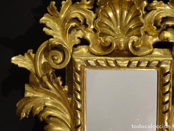 Antigüedades: Pareja de cornucopias en espejo, fin S.XVIII- madera tallada y dorada con oro fino - Foto 7 - 191696470