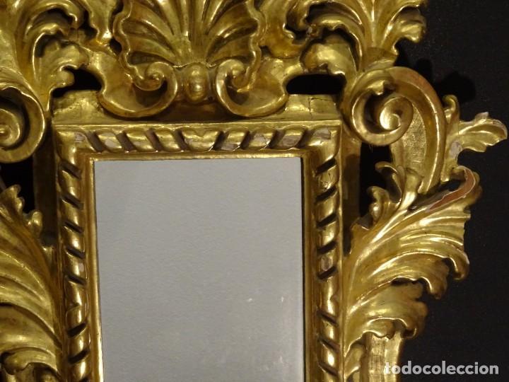 Antigüedades: Pareja de cornucopias en espejo, fin S.XVIII- madera tallada y dorada con oro fino - Foto 8 - 191696470