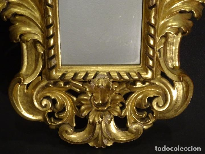 Antigüedades: Pareja de cornucopias en espejo, fin S.XVIII- madera tallada y dorada con oro fino - Foto 10 - 191696470