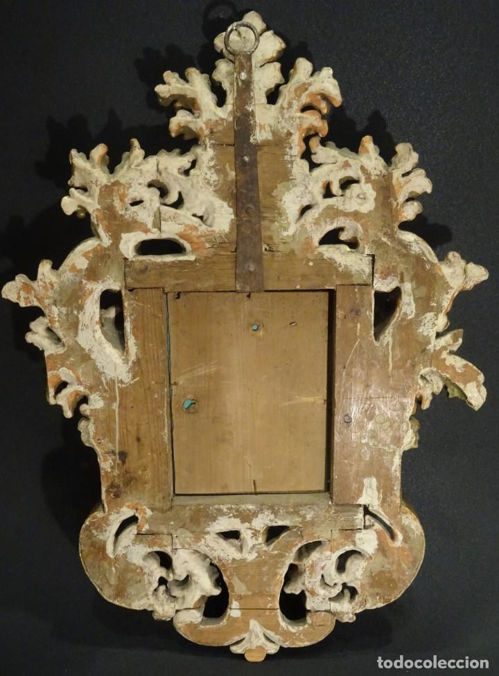 Antigüedades: Pareja de cornucopias en espejo, fin S.XVIII- madera tallada y dorada con oro fino - Foto 11 - 191696470