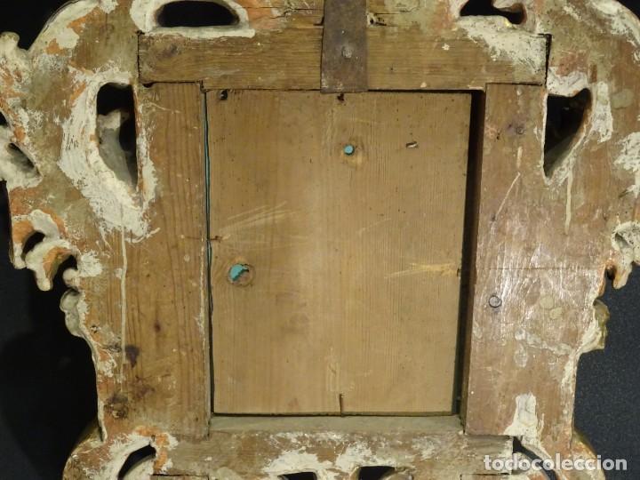Antigüedades: Pareja de cornucopias en espejo, fin S.XVIII- madera tallada y dorada con oro fino - Foto 13 - 191696470