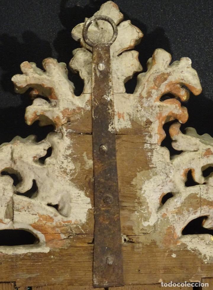 Antigüedades: Pareja de cornucopias en espejo, fin S.XVIII- madera tallada y dorada con oro fino - Foto 15 - 191696470