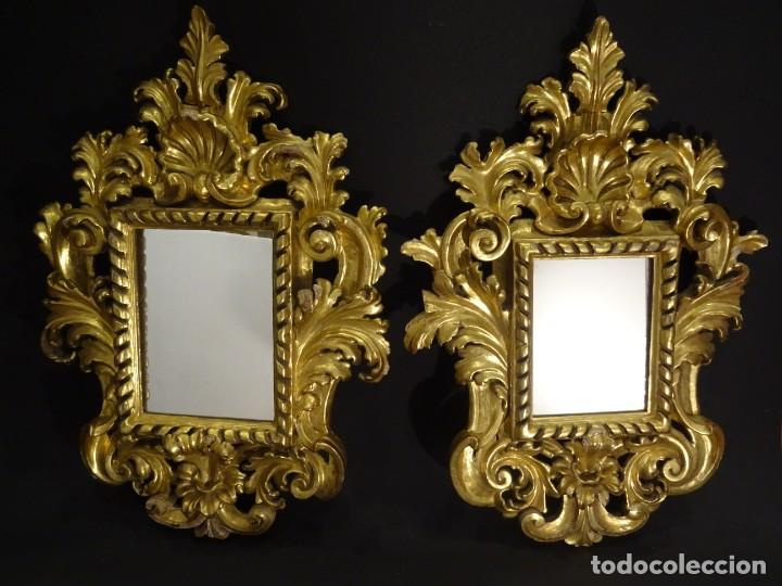 Antigüedades: Pareja de cornucopias en espejo, fin S.XVIII- madera tallada y dorada con oro fino - Foto 16 - 191696470