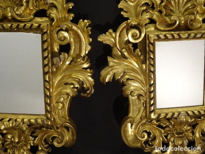 Antigüedades: Pareja de cornucopias en espejo, fin S.XVIII- madera tallada y dorada con oro fino - Foto 17 - 191696470