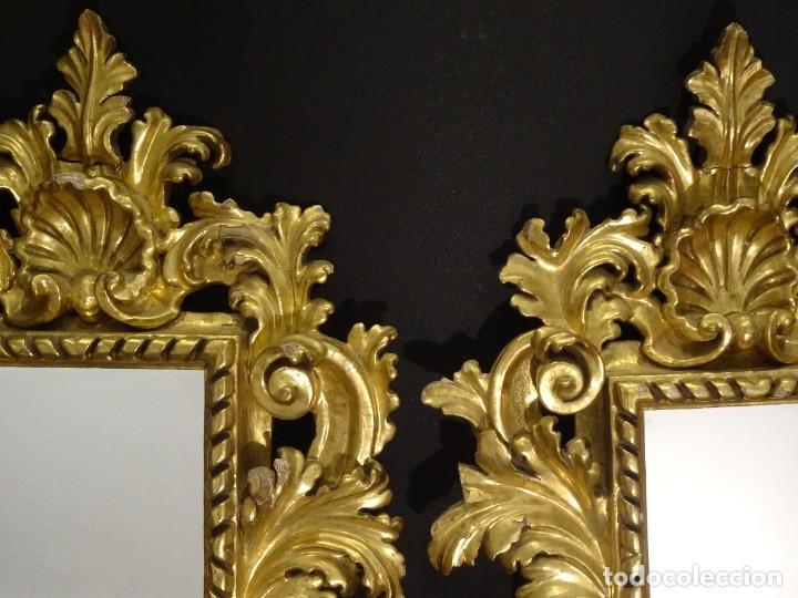 Antigüedades: Pareja de cornucopias en espejo, fin S.XVIII- madera tallada y dorada con oro fino - Foto 18 - 191696470
