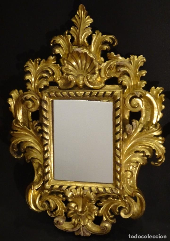 Antigüedades: Pareja de cornucopias en espejo, fin S.XVIII- madera tallada y dorada con oro fino - Foto 19 - 191696470