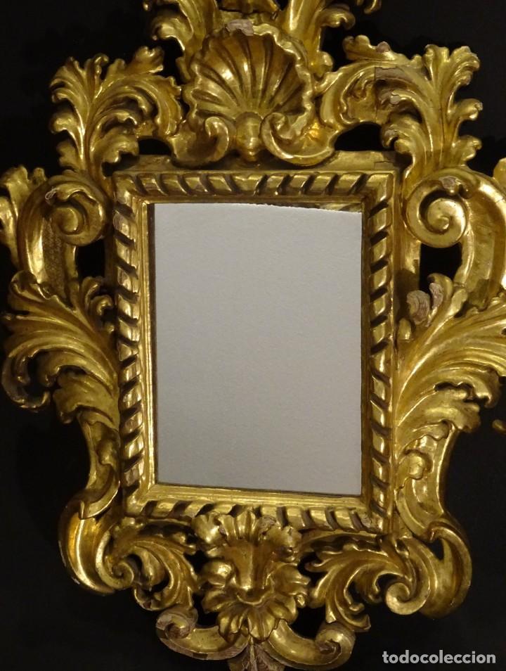 Antigüedades: Pareja de cornucopias en espejo, fin S.XVIII- madera tallada y dorada con oro fino - Foto 21 - 191696470