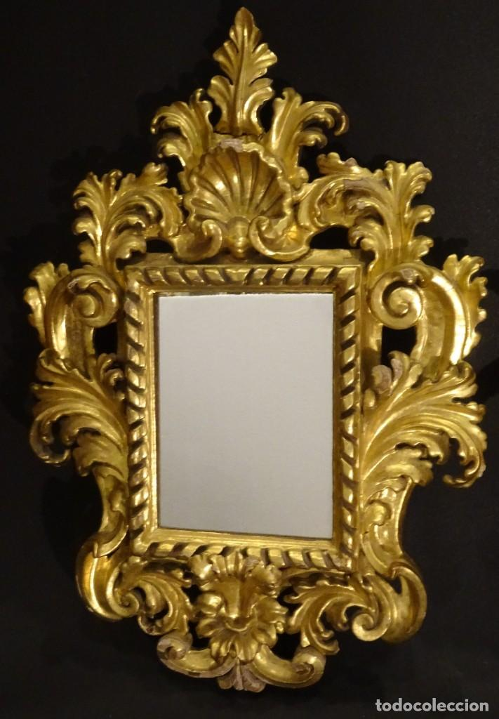 Antigüedades: Pareja de cornucopias en espejo, fin S.XVIII- madera tallada y dorada con oro fino - Foto 22 - 191696470