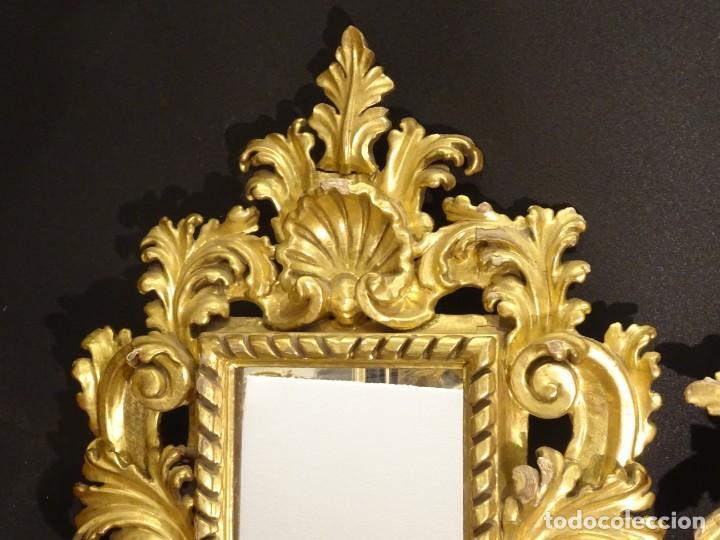 Antigüedades: Pareja de cornucopias en espejo, fin S.XVIII- madera tallada y dorada con oro fino - Foto 23 - 191696470