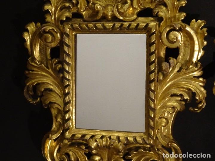 Antigüedades: Pareja de cornucopias en espejo, fin S.XVIII- madera tallada y dorada con oro fino - Foto 24 - 191696470