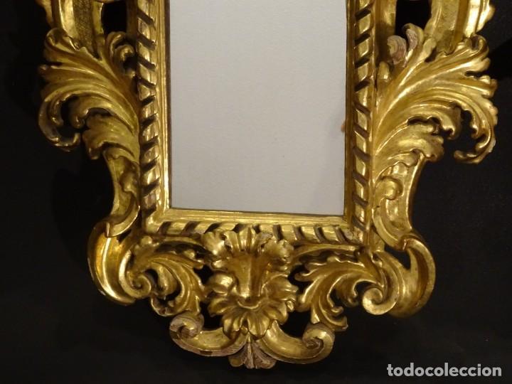Antigüedades: Pareja de cornucopias en espejo, fin S.XVIII- madera tallada y dorada con oro fino - Foto 25 - 191696470