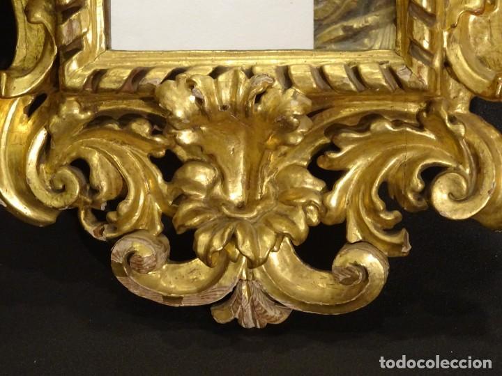 Antigüedades: Pareja de cornucopias en espejo, fin S.XVIII- madera tallada y dorada con oro fino - Foto 26 - 191696470