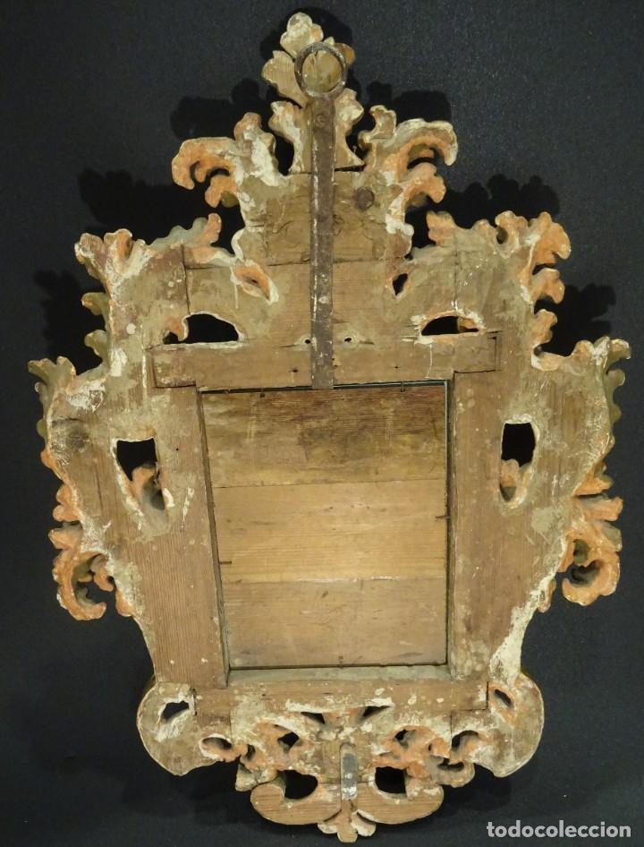 Antigüedades: Pareja de cornucopias en espejo, fin S.XVIII- madera tallada y dorada con oro fino - Foto 27 - 191696470