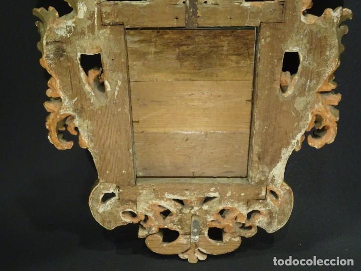 Antigüedades: Pareja de cornucopias en espejo, fin S.XVIII- madera tallada y dorada con oro fino - Foto 29 - 191696470