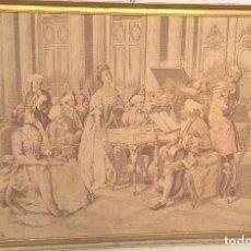 Antigüedades: TAPIZ FRANCÉS DE ESCENA GALANTE EN SALÓN. FIRMADO. Lote 191697876