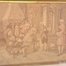 Antigüedades: TAPIZ FRANCÉS DE ESCENA DE MÚSICA Y GALANTE EN SALÓN. FIRMADO. Lote 191698371