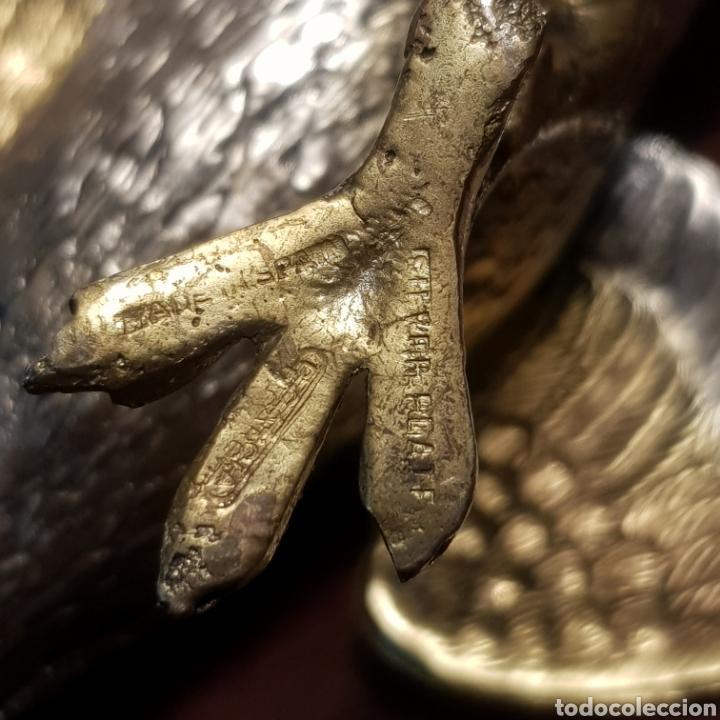 Antigüedades: PRECIOSA PAREJA DE PAJAROS EN ALPACA BAÑO DE PLATA CON PRECIOSA PATINA - Foto 8 - 191706047