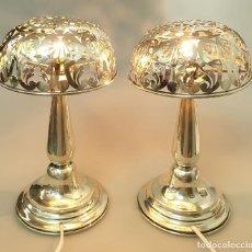 Antigüedades: PAREJA LAMPARAS SOBREMESA DECO PLATA LEY . Lote 191708961