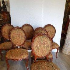 Antigüedades: JUEGO DE 6 SILLAS LUIS XV NOGAL. Lote 191712536