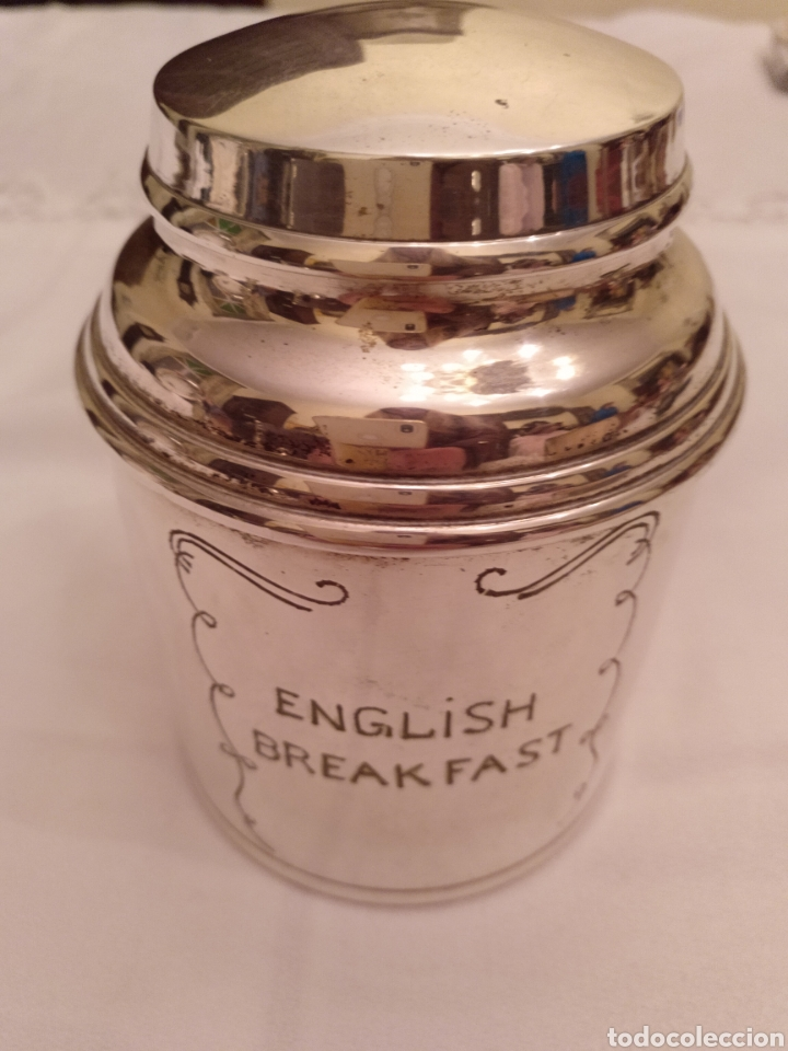 BOTE DE ALPACA PARA EL TÉ ENGLISH BREAKFAST (Antigüedades - Platería - Bañado en Plata Antiguo)