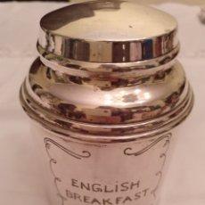 Antigüedades: TARRO DE ALPACA PARA EL TÉ ENGLISH BREAKFAST. Lote 191758782
