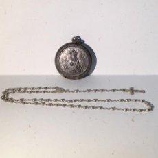 Antigüedades: MONTSERRAT, ANTIGUA CAJA MEDALLON Y ROSARIO. Lote 191772190