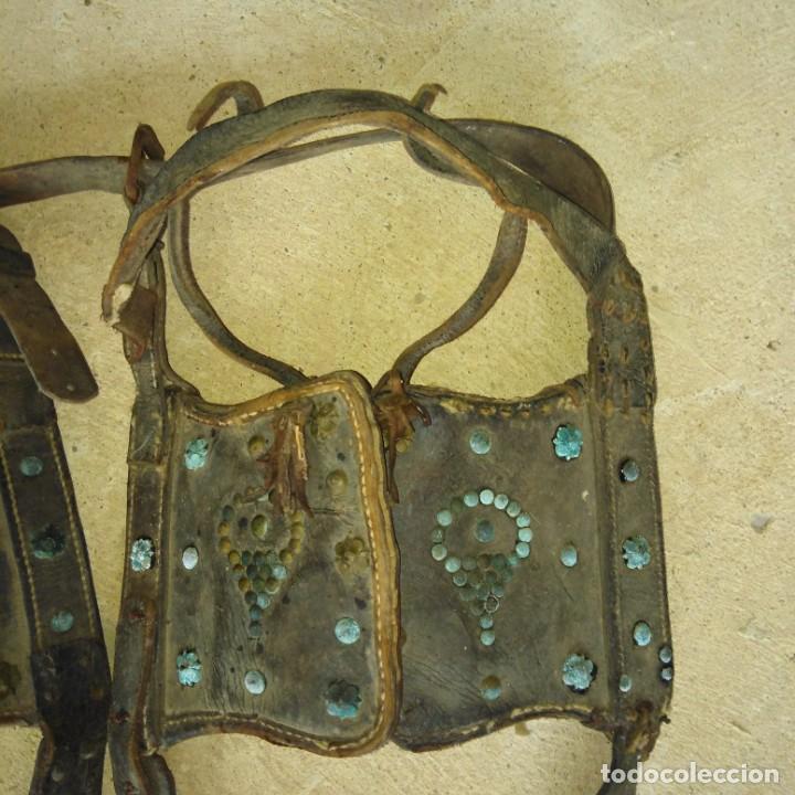 Antigüedades: Antiguas pareja de anteojeras con mosqueros de caballería del Siglo xix - Foto 6 - 191781726