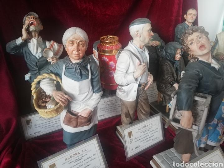 Antigüedades: Colección 9 figuras hiperrealista porcelana algora con certificado - Foto 3 - 191799507