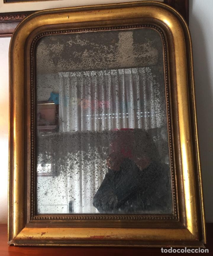 Antigüedades: Antiguo espejo Luis Felipe decorado con pan de oro de época madera maciza sin restaurar alguna falta - Foto 3 - 191805770