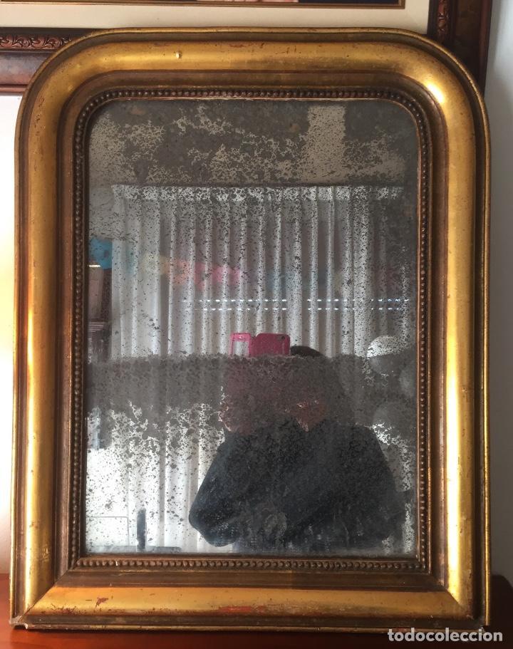Antigüedades: Antiguo espejo Luis Felipe decorado con pan de oro de época madera maciza sin restaurar alguna falta - Foto 4 - 191805770