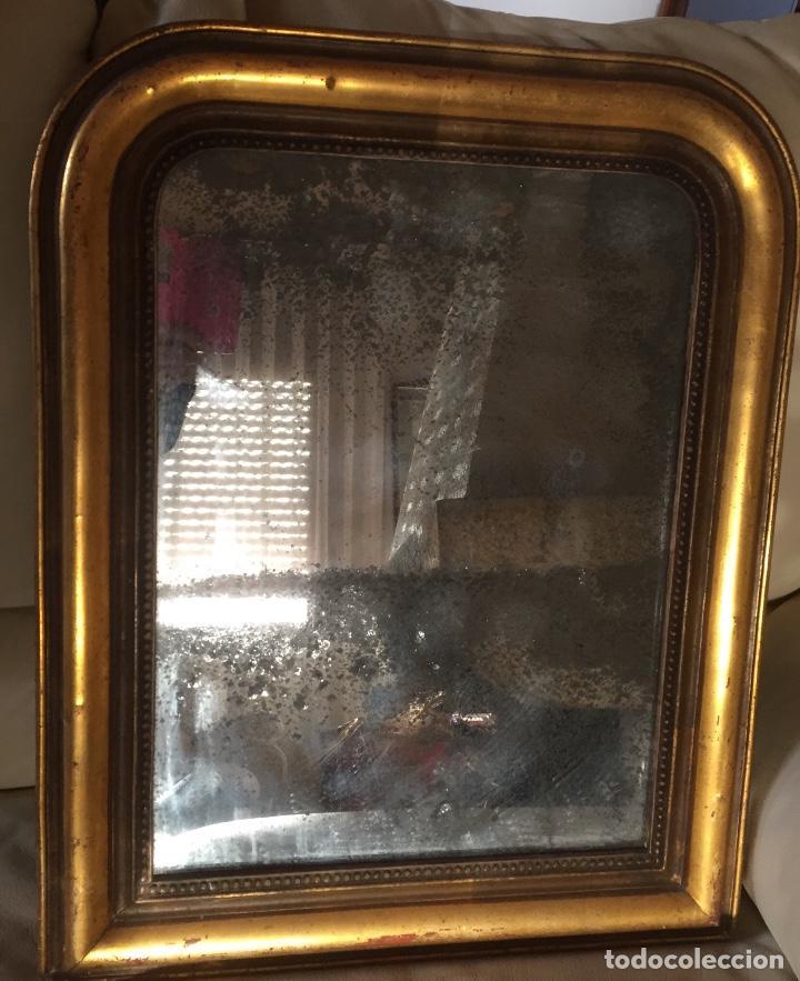 Antigüedades: Antiguo espejo Luis Felipe decorado con pan de oro de época madera maciza sin restaurar alguna falta - Foto 5 - 191805770