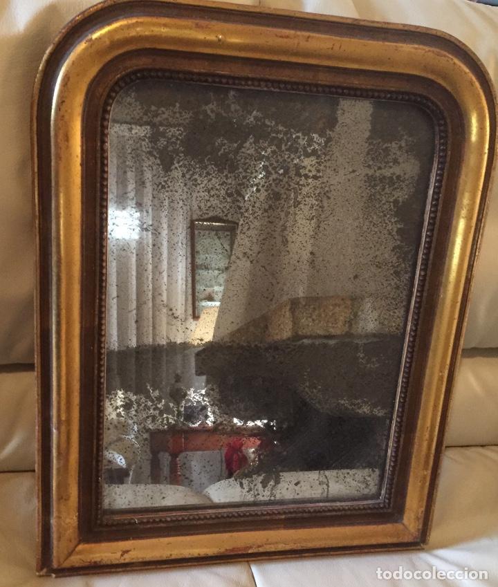 Antigüedades: Antiguo espejo Luis Felipe decorado con pan de oro de época madera maciza sin restaurar alguna falta - Foto 6 - 191805770