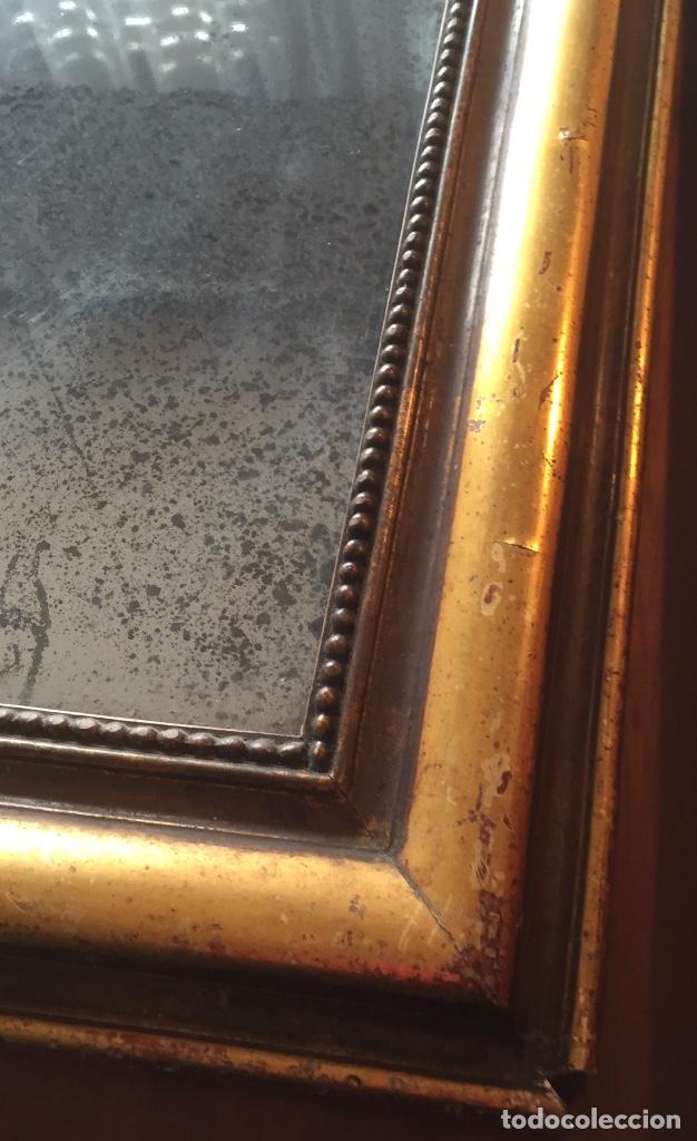 Antigüedades: Antiguo espejo Luis Felipe decorado con pan de oro de época madera maciza sin restaurar alguna falta - Foto 8 - 191805770