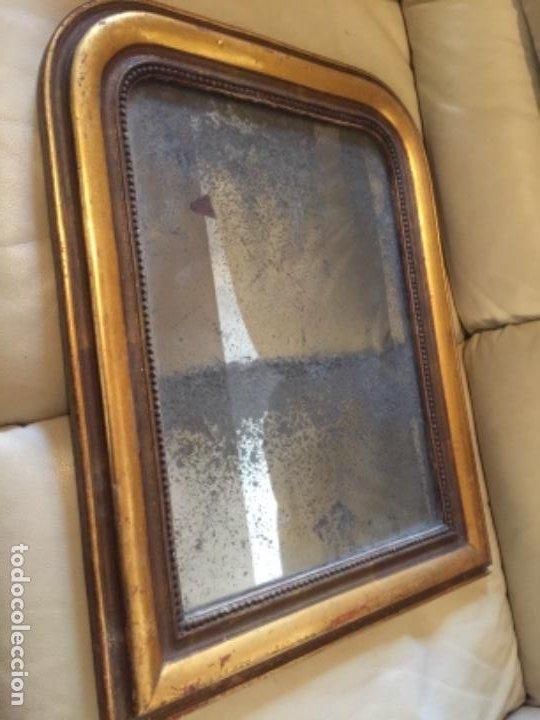 Antigüedades: Antiguo espejo Luis Felipe decorado con pan de oro de época madera maciza sin restaurar alguna falta - Foto 9 - 191805770