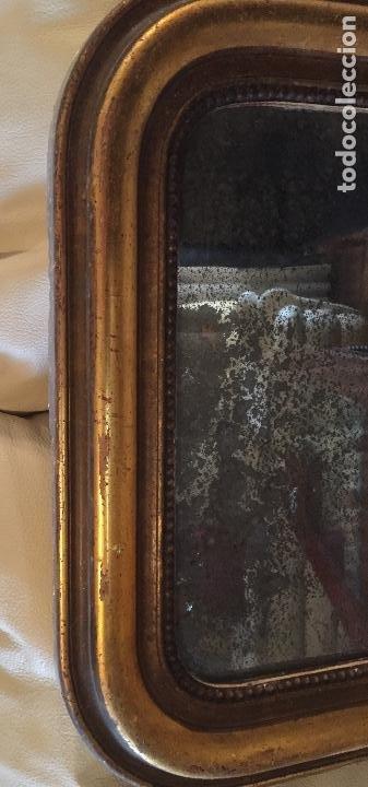 Antigüedades: Antiguo espejo Luis Felipe decorado con pan de oro de época madera maciza sin restaurar alguna falta - Foto 13 - 191805770