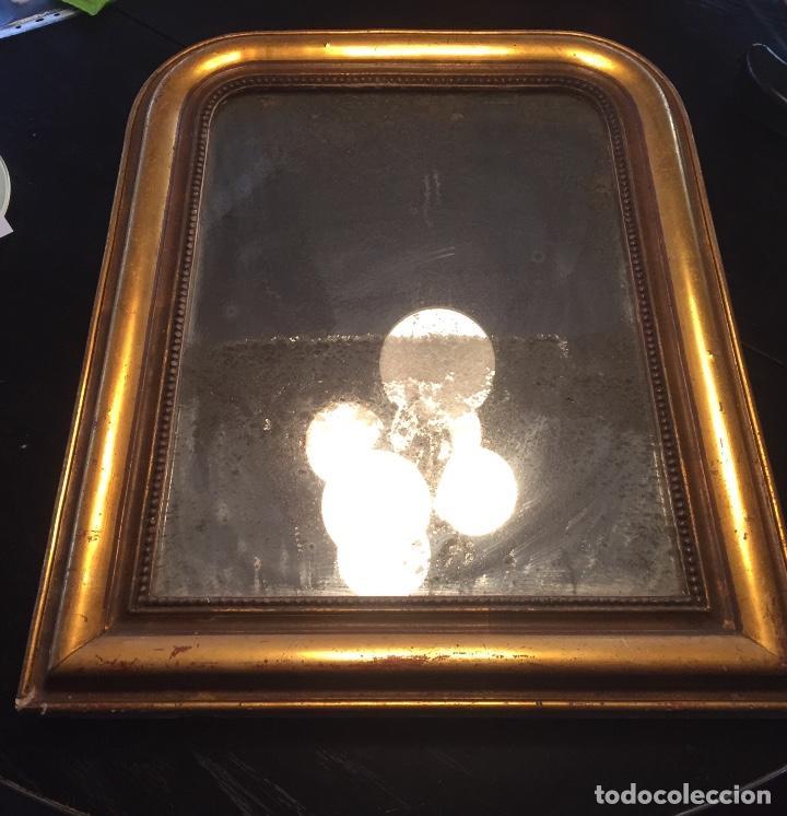Antigüedades: Antiguo espejo Luis Felipe decorado con pan de oro de época madera maciza sin restaurar alguna falta - Foto 14 - 191805770