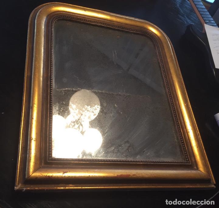 Antigüedades: Antiguo espejo Luis Felipe decorado con pan de oro de época madera maciza sin restaurar alguna falta - Foto 15 - 191805770