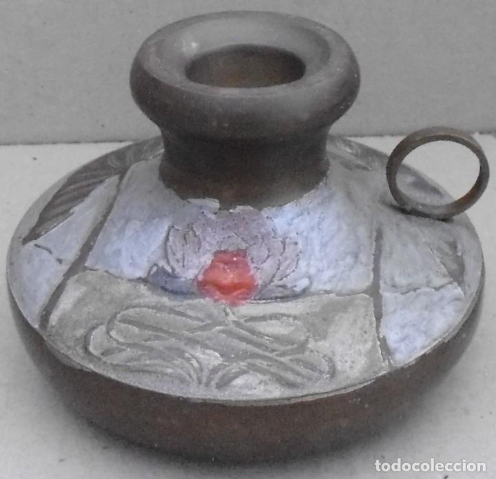 Antigüedades: PORTA VELAS DE METAL PINTADO A MANO , QUE PUEDES RETIRAR - Foto 3 - 191808226