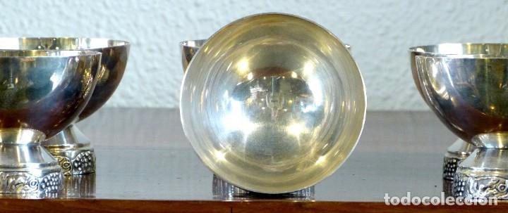 Antigüedades: Conjunto de 6 copas de metal plateado - Foto 3 - 191814285