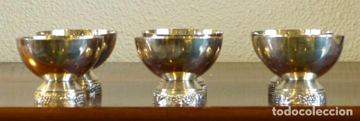 Antigüedades: Conjunto de 6 copas de metal plateado - Foto 4 - 191814285