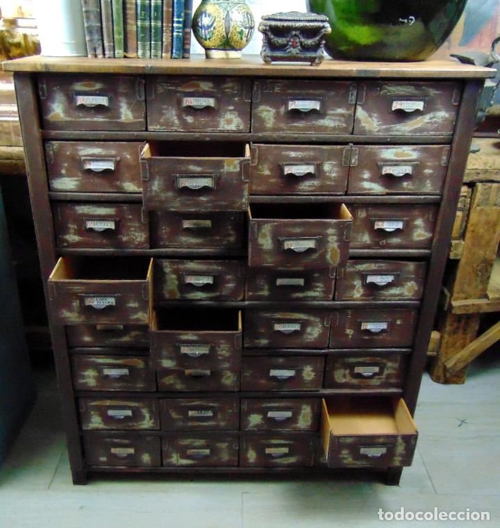 Antigüedades: antiguo mueble de merceria, restaurado, ideal consola,32 cajones decorativo y funcional - Foto 2 - 191819333